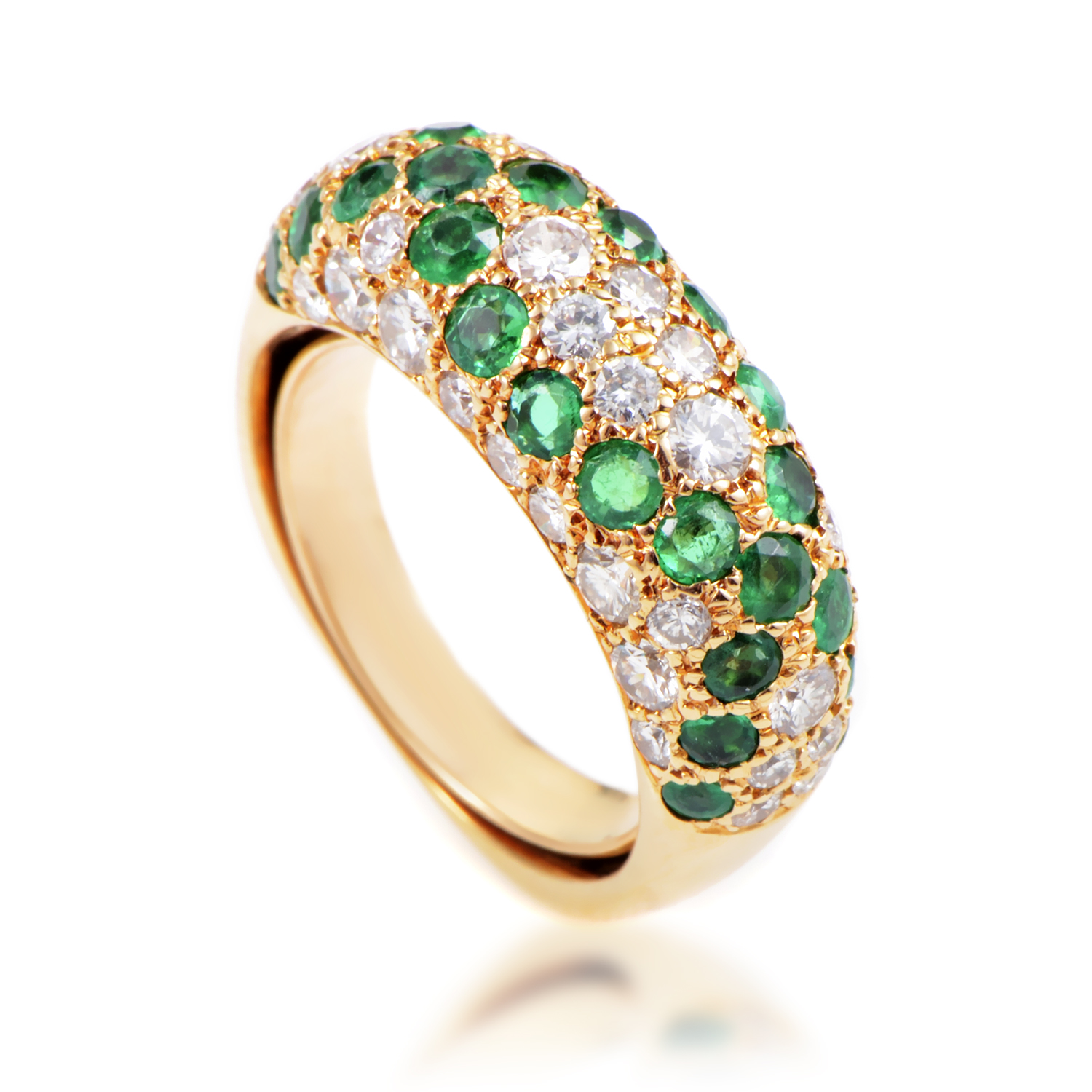 Boucheron Women's 18K Yellow Gold Diamond & Emerald Paved Band Ring AK1B3697