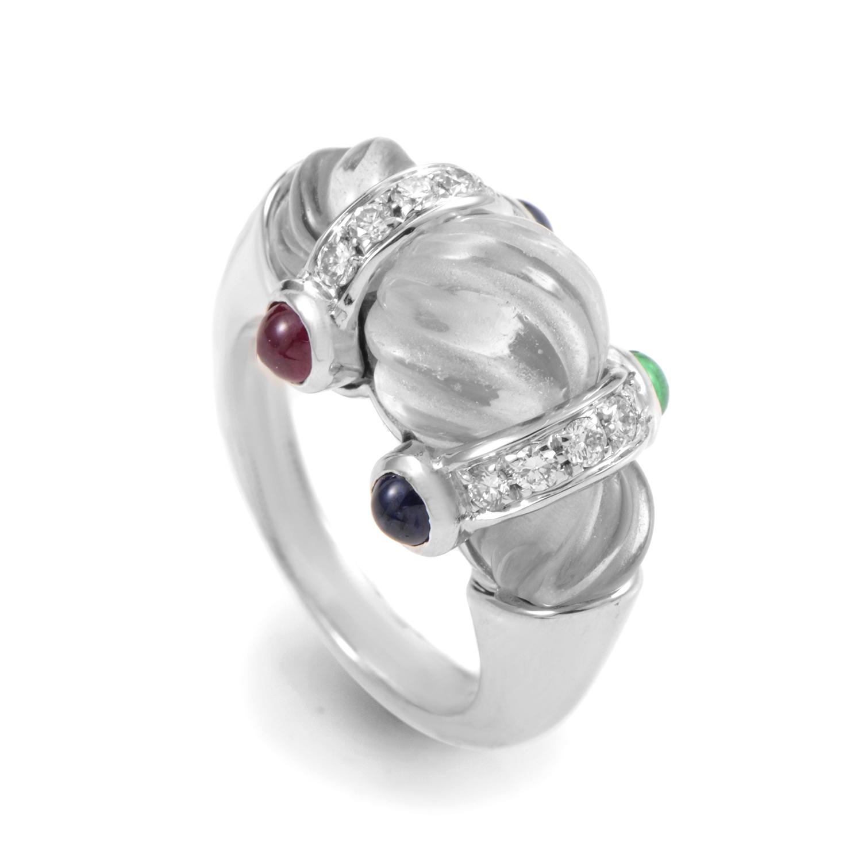 Boucheron 18K White Gold Crystal & Gemstone Ring