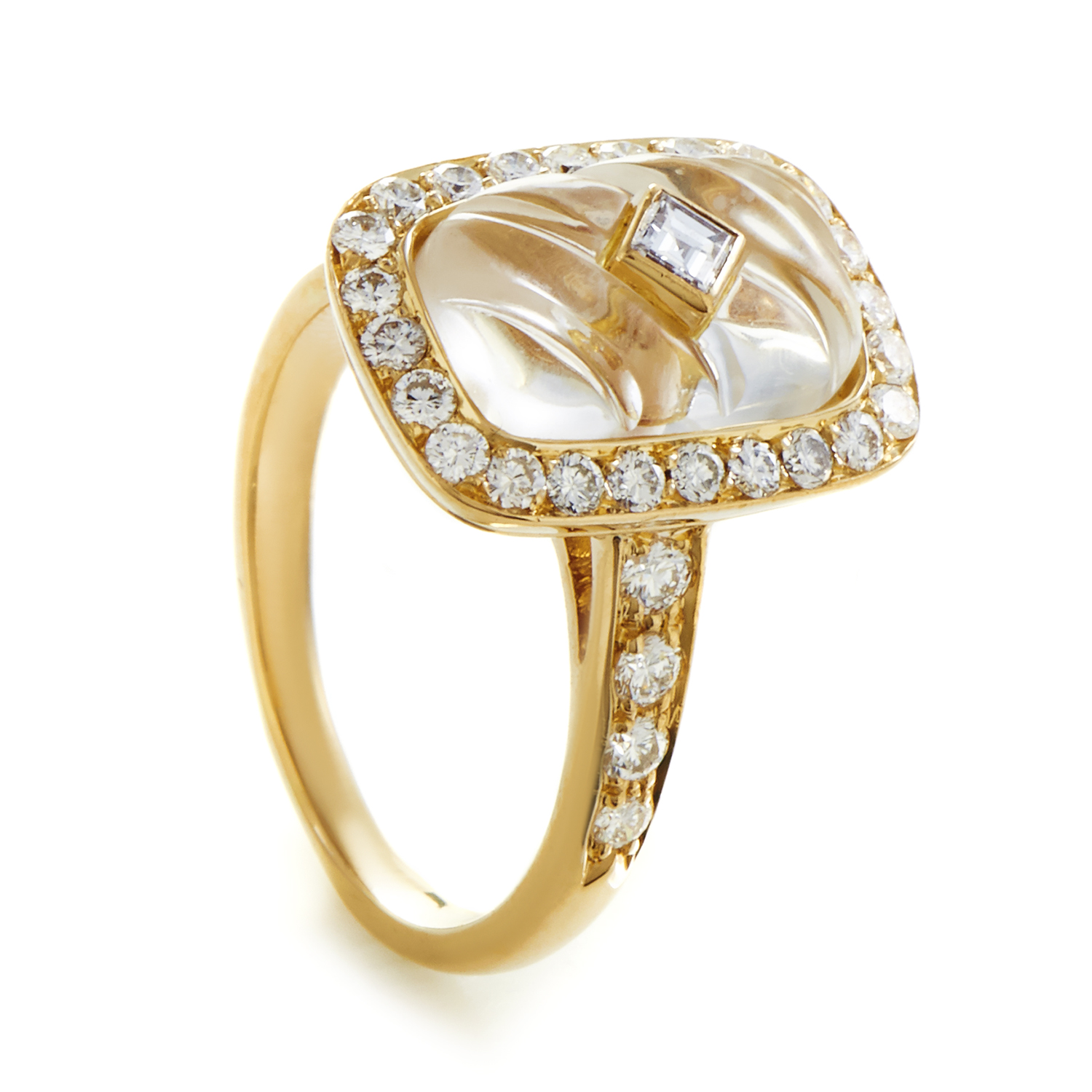 Boucheron Women's 18K Yellow Gold Diamond & Crystal Ring