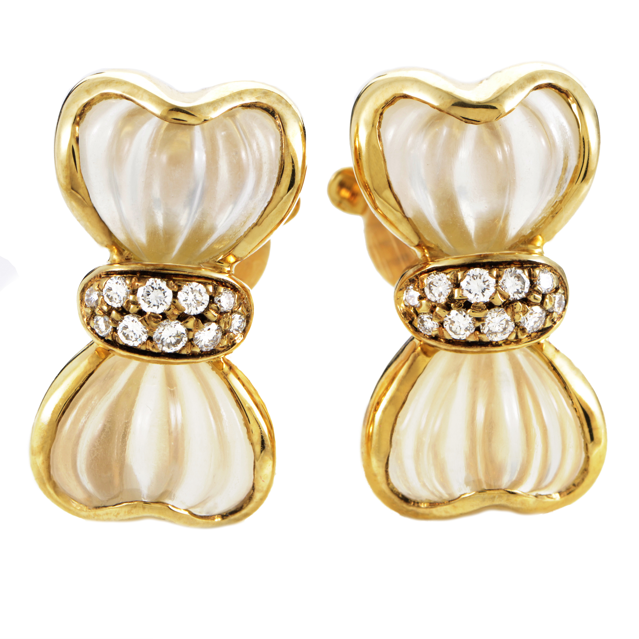 Boucheron Women's 18K Yellow Gold Diamond & Crystal Bow Clip-on Earrings