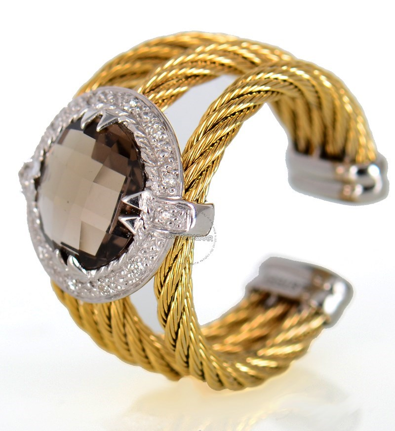 18K White Gold and Yellow PVD Coated Stainless Steel Celtic Cable Ring with round Smoky Quartz Stone