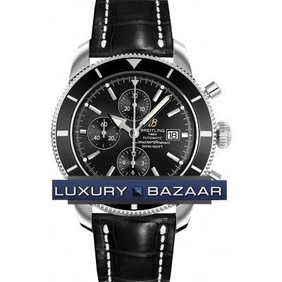 Superocean Heritage chronograph (SS / Black / Croc Leather )