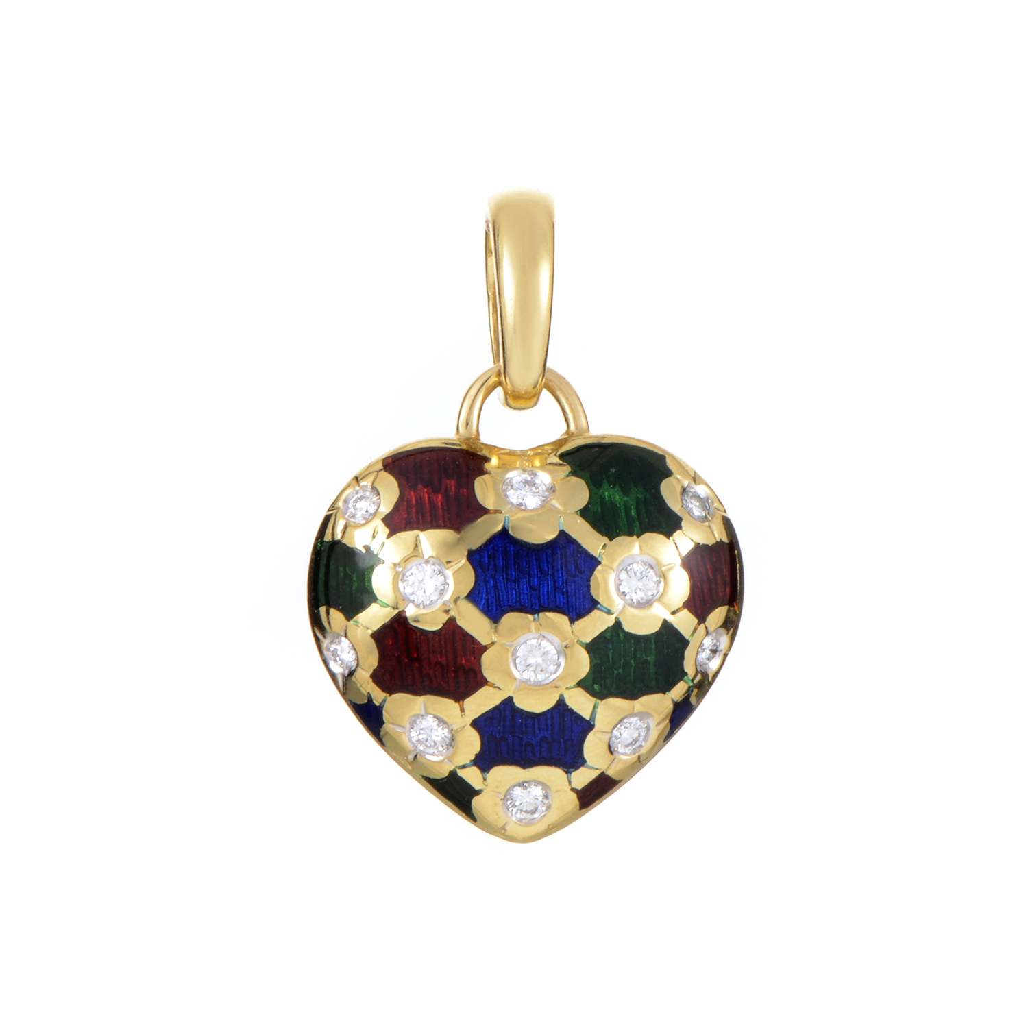Brev Italy Women's Enameled 18K Yellow Gold Diamond Heart Pendant