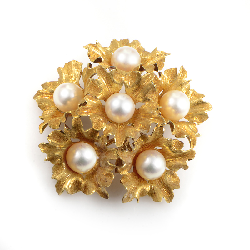 Buccellati 18K Yellow Gold Pearl Floral Bouquet Brooch