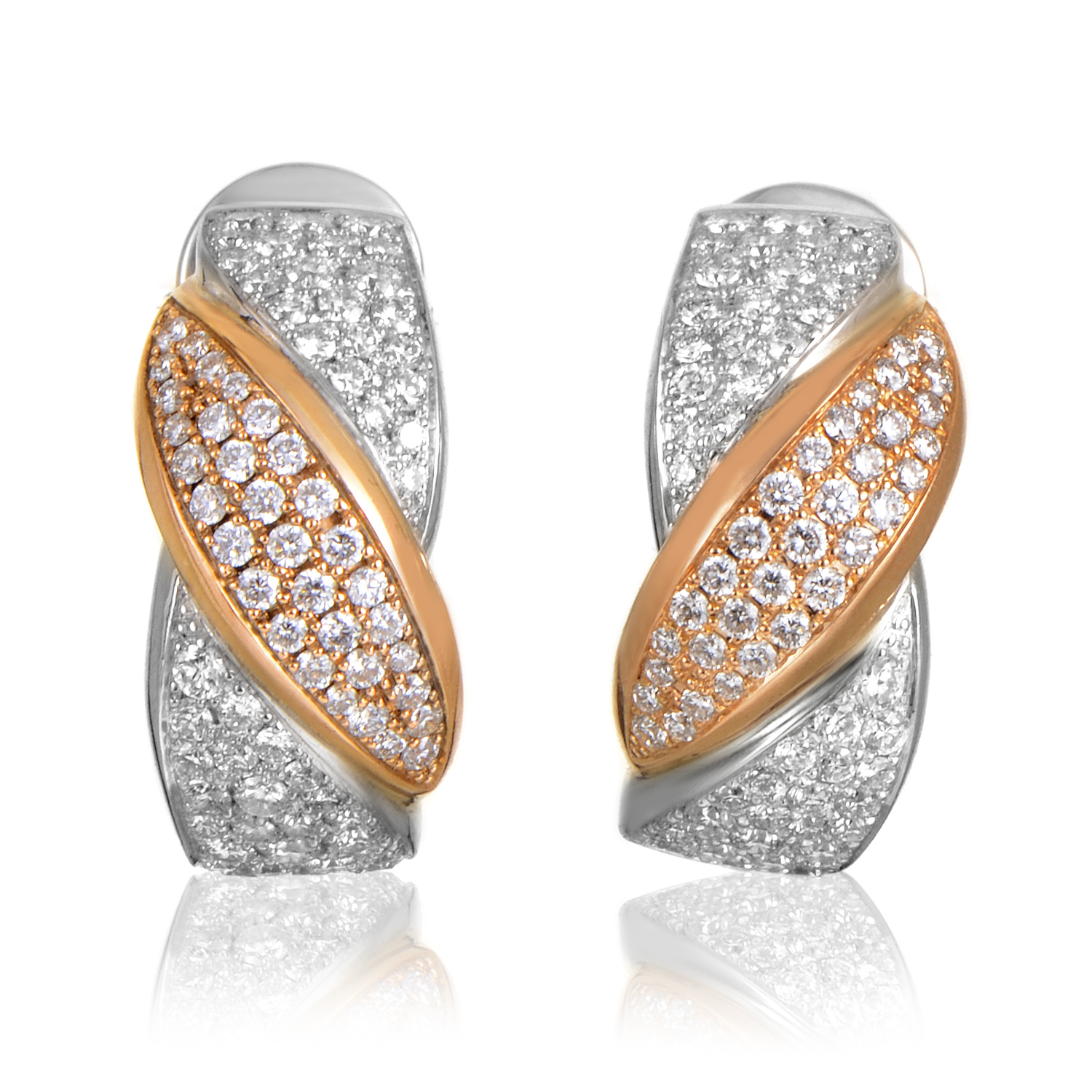 Women's 18K Multi-Tone Gold Diamond Pave Huggie Earrings