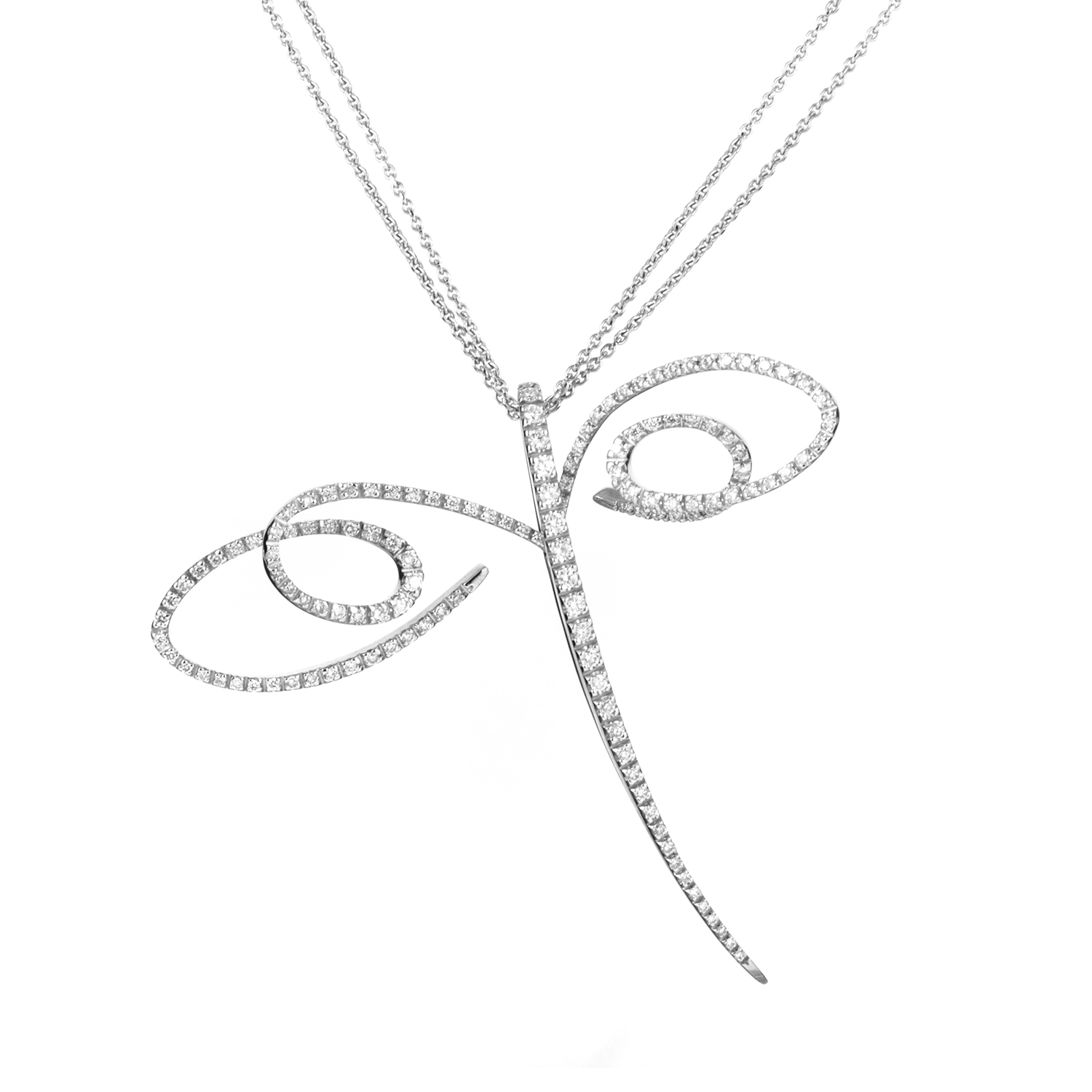 Women's 18K White Gold Diamond Dragonfly Pendant Necklace 0729-169-0
