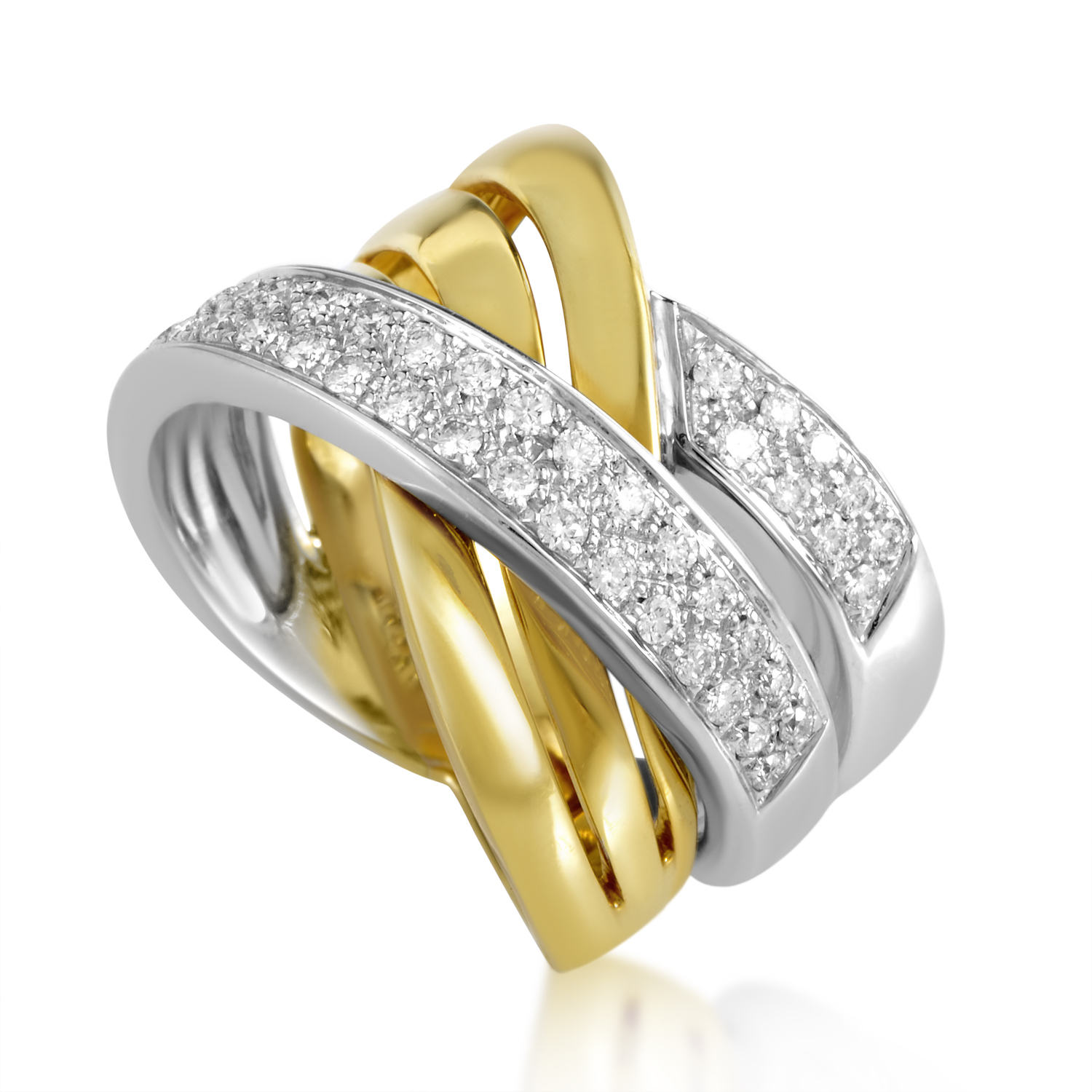 Womens 18K Yellow and White Gold Woven Diamond Band Ring