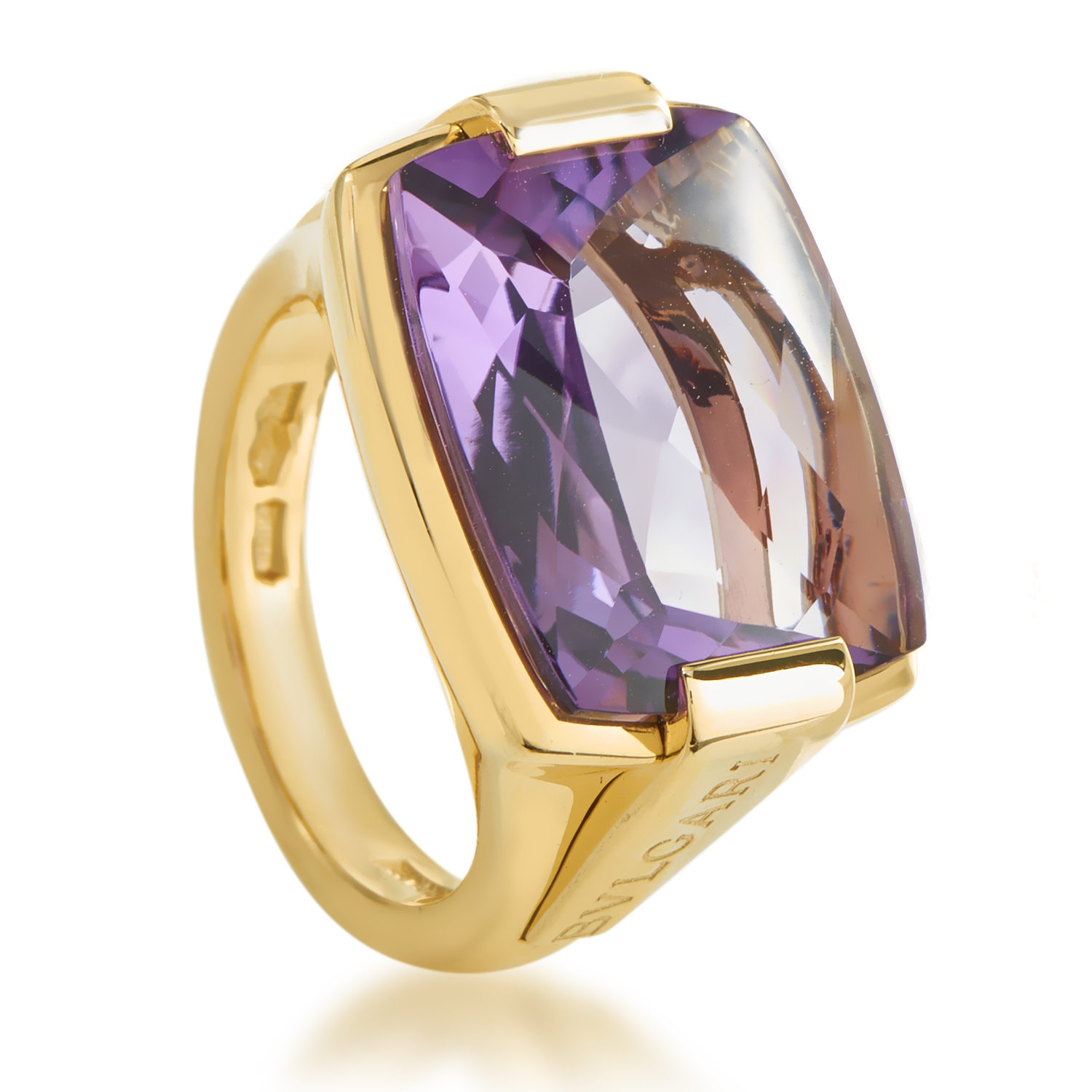 Bvlgari Metropolis 18K Yellow Gold Amethyst Women's Ring