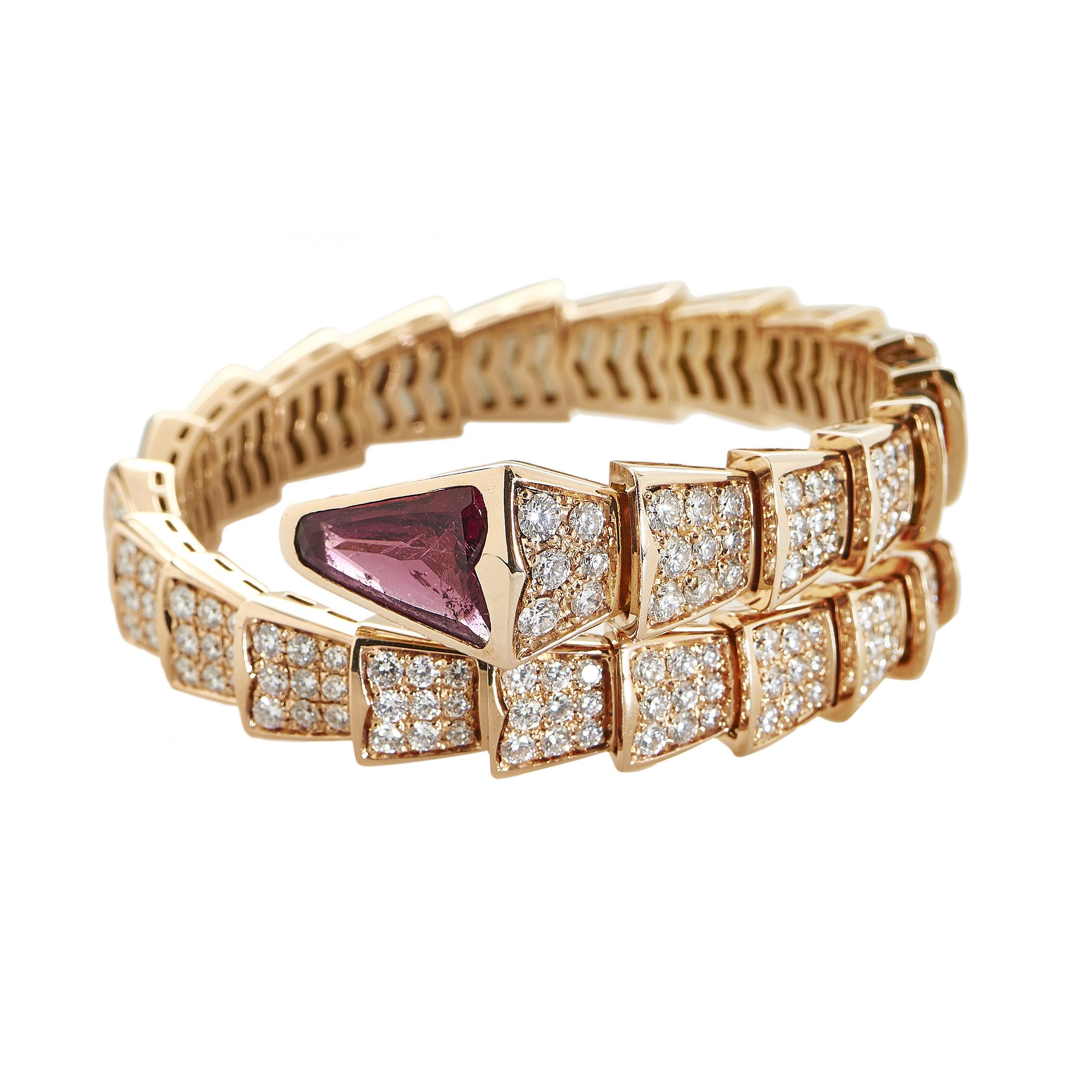 Serpenti Women's 18K Rose Gold Full Diamond Pave & Rubellite Small Bracelet