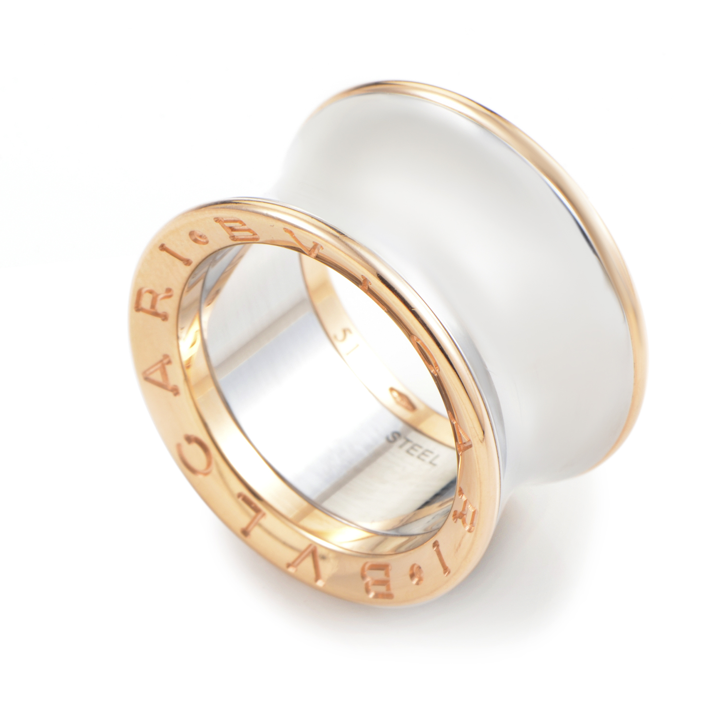 B.ZERO1 18K Rose Gold & Stainless Steel Ring A212301