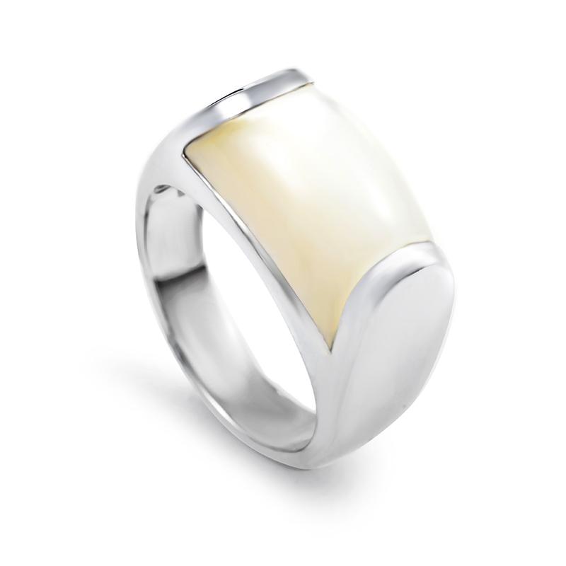 Bvlgari Tronchetto Women's 18K White Gold Moonstone Ring