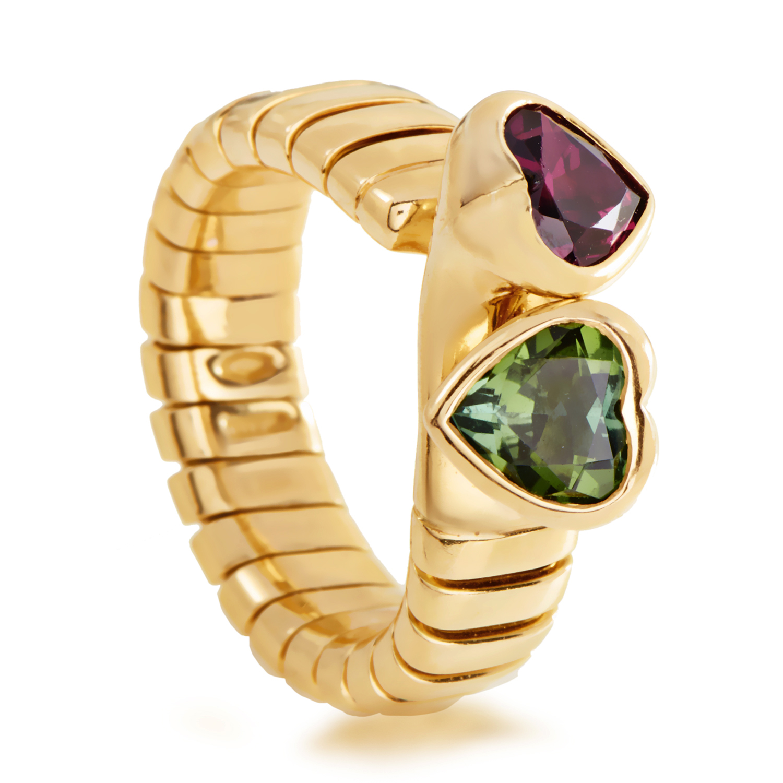 Bvlgari Tubogas Women's 18K Yellow Gold Peridot & Rhodolite Garnet Hearts Ring