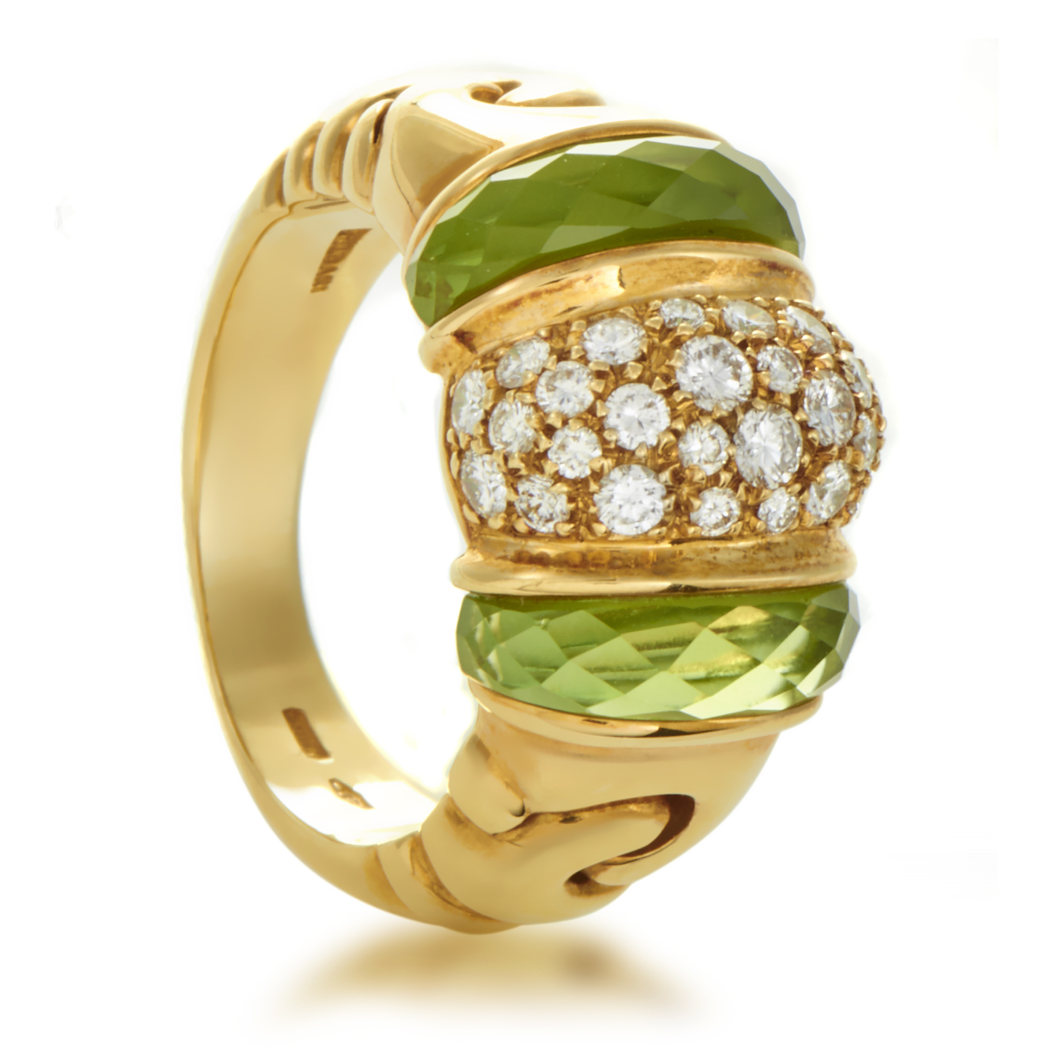 Bvlgari Ganci Women's 18K Yellow Gold Diamond & Peridot Ring