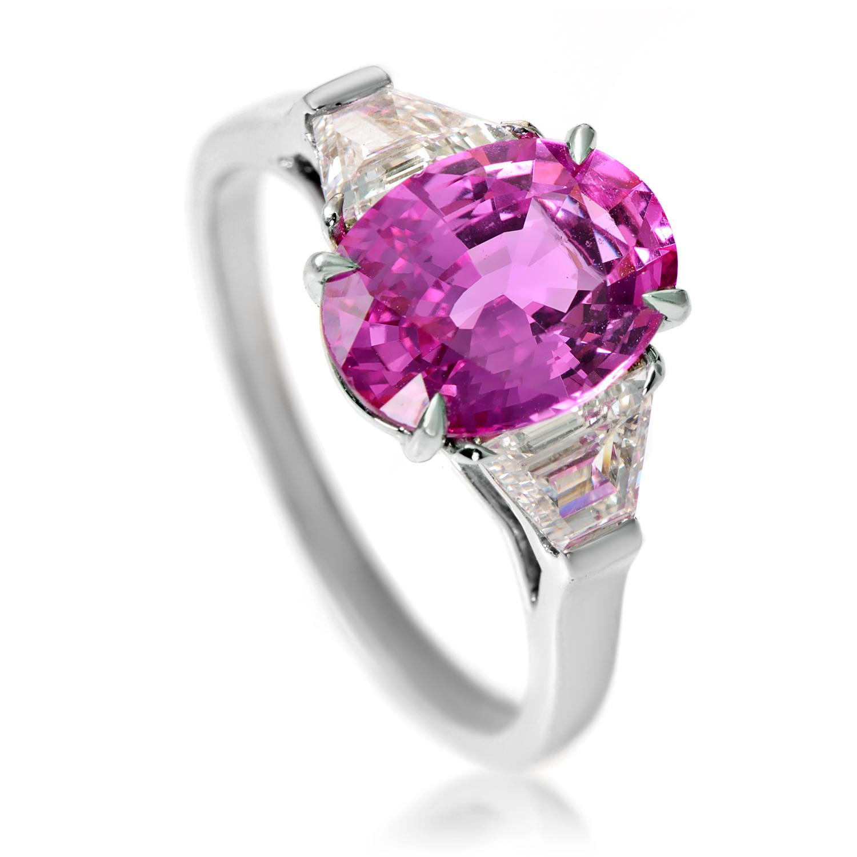 Bvlgari Platinum Pink Sapphire & Diamond Ring