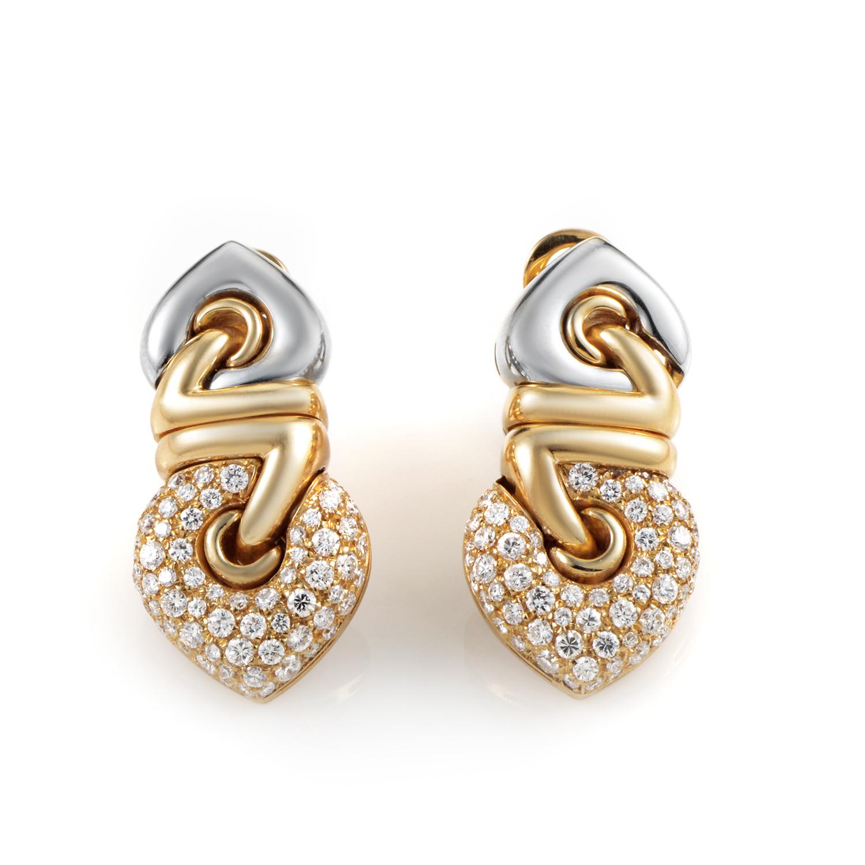 Bvlgari Coure 18K Multi-Tone Gold Diamond Clip-On Earrings