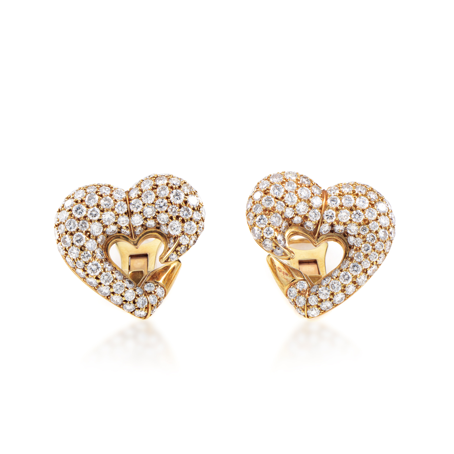 Bvlgari Vintage 18K Yellow Gold Diamond Pave Heart Clip-On Earrings