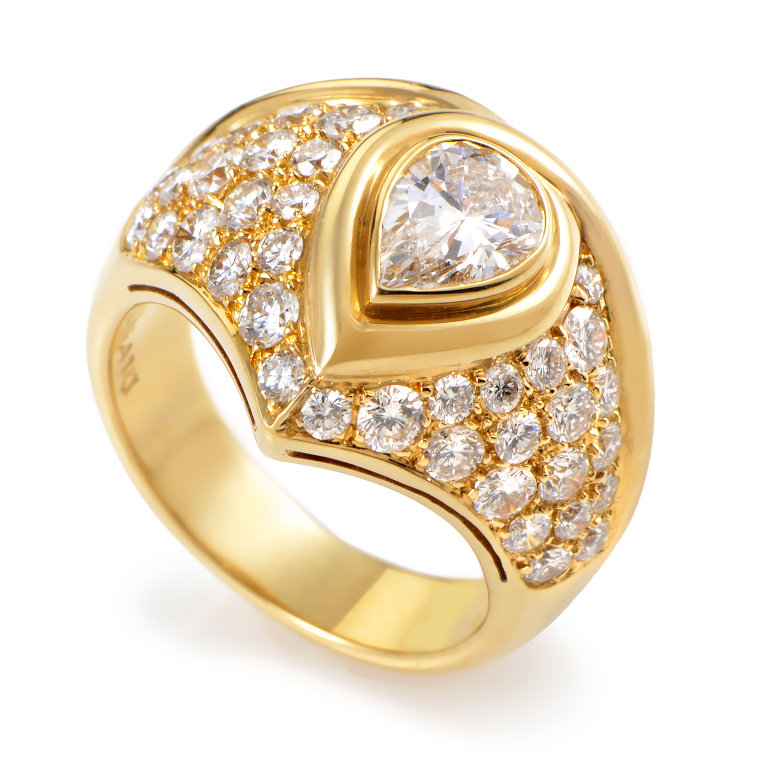 Bvlgari Womens 18K Yellow Gold Pear and Round Diamond Ring