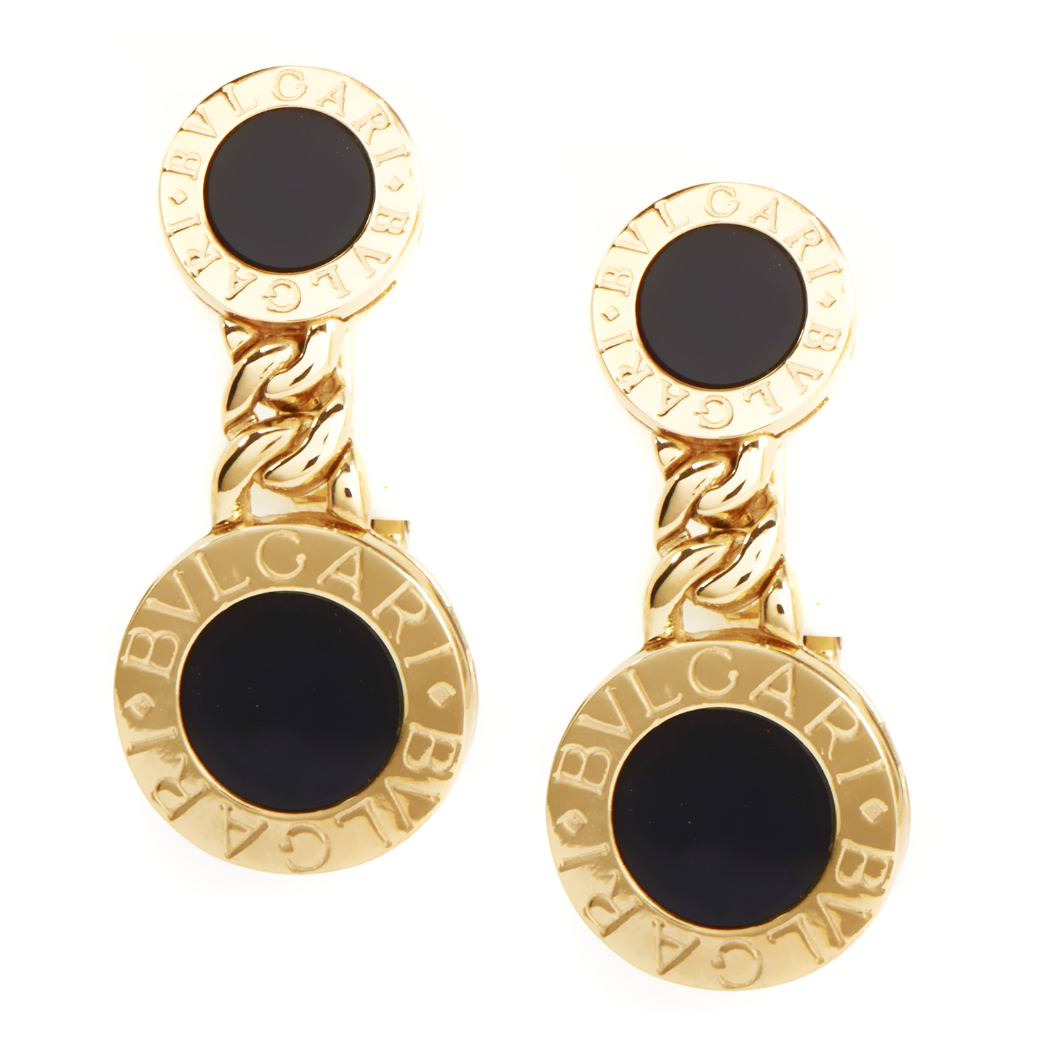 Bvlgari BVLGARI-BVLGARI 18K Yellow Gold Onyx Clip-on Women's Earrings