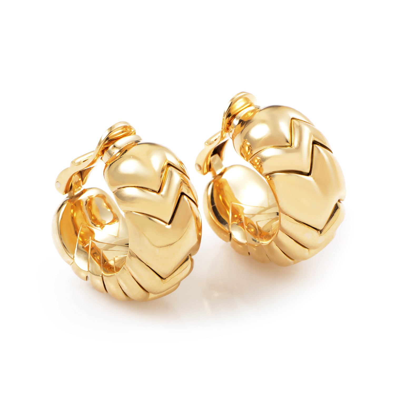 Bvlgari Spiga Women's 18K Yellow Gold Clip-on Earrings