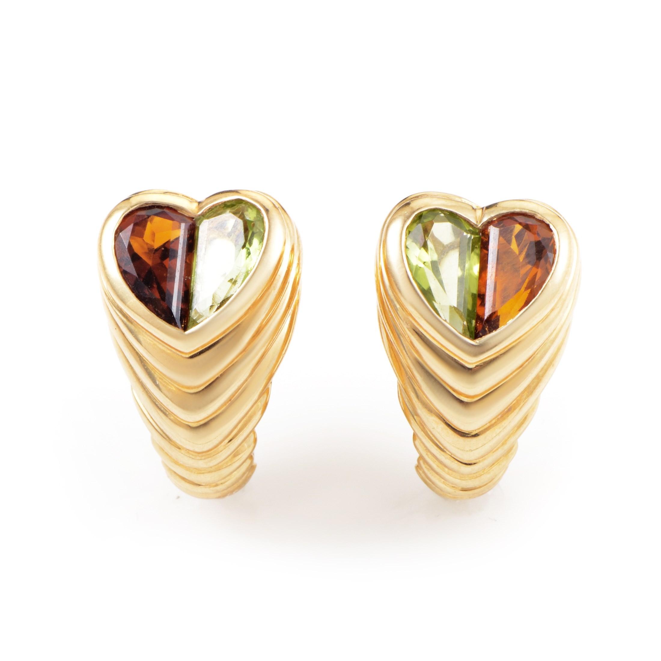 Bvlgari Doppio Women's 18K Yellow Gold Citrine & Peridot Heart Earrings