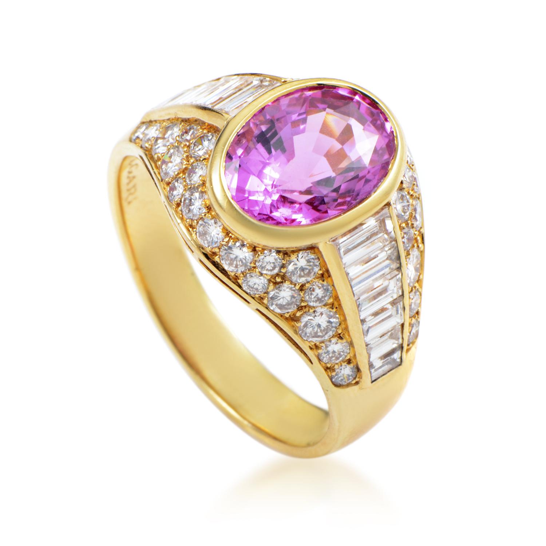 Bvlgari Women's 18K Yellow Gold Diamond & Ceylon Pink Sapphire Ring