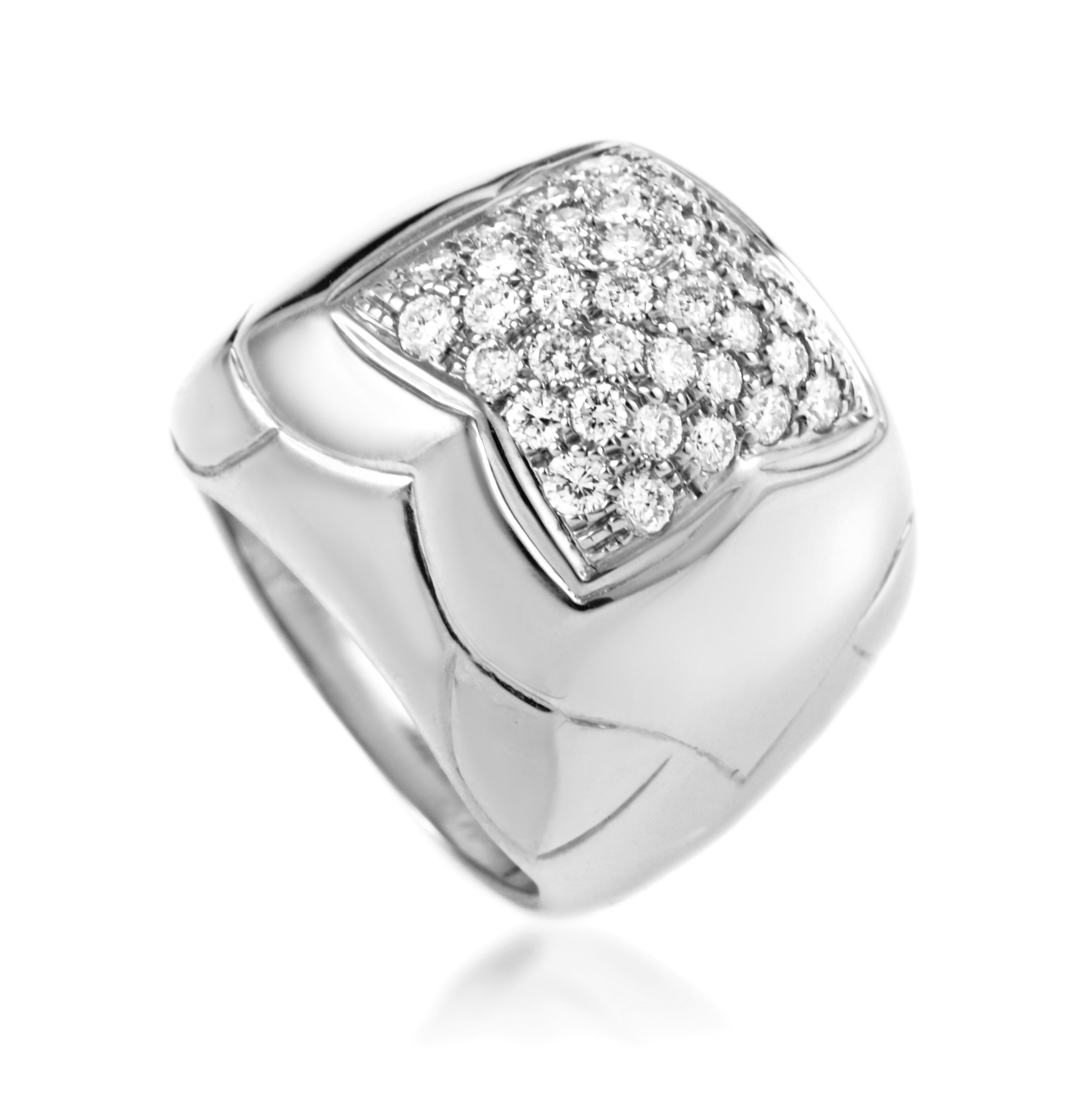Bvlgari Piramide Women's 18K White Gold Diamond Pave Cocktail Ring