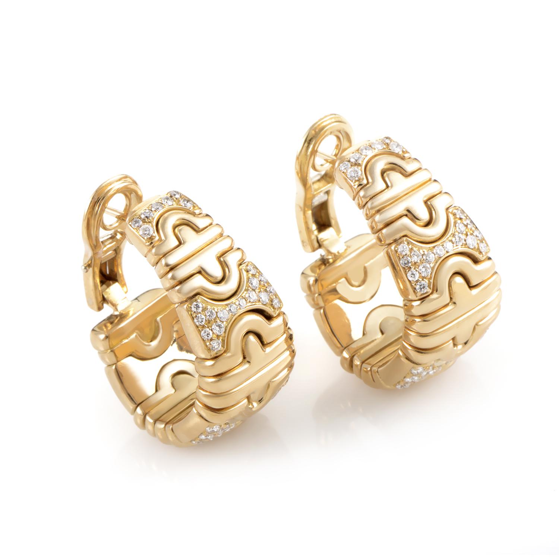 Bvlgari Parentesi Women's 18K Yellow Gold Diamond Earrings