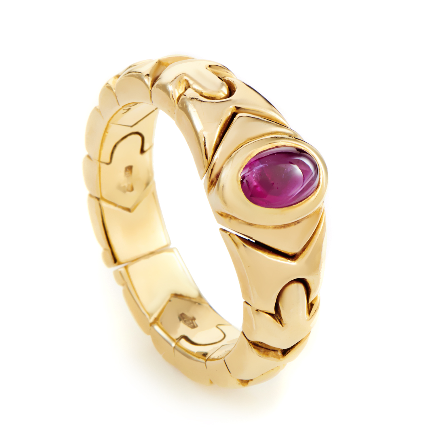 Bvlgari Women's 18K Yellow Gold Ruby Cabochon Band Ring