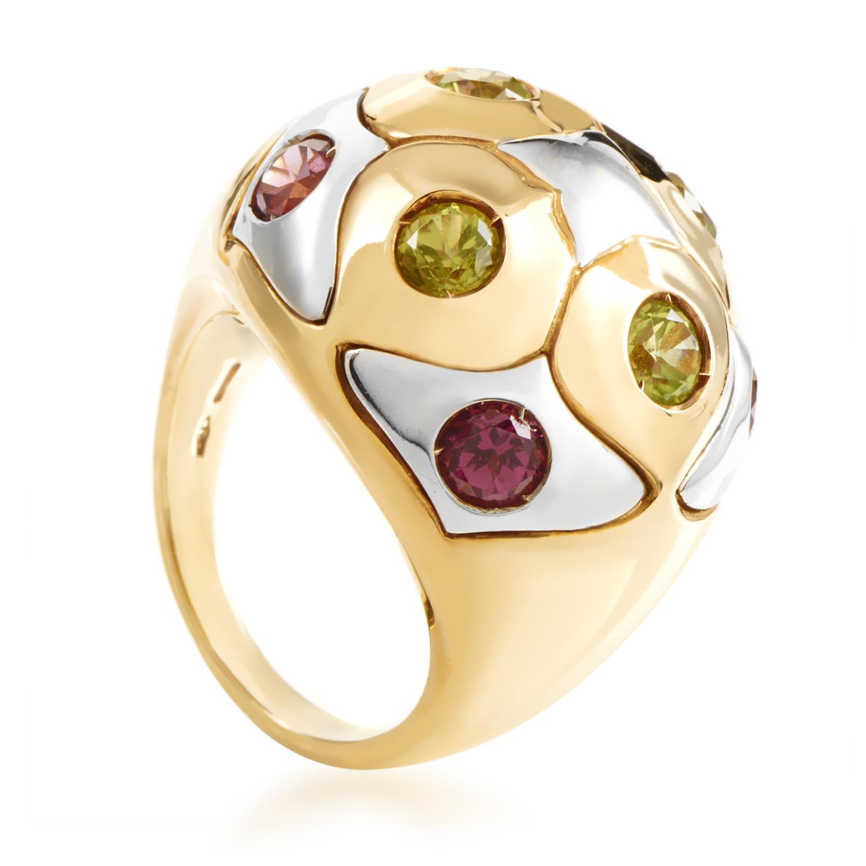 Bvlgari Women's 18K Multi-Tone Gold Peridot & Pink Tourmaline Ring