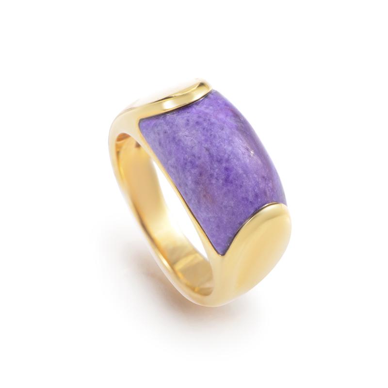 Bvlgari Tronchetto 18K Yellow Gold Purple Agate Ring