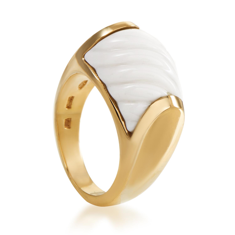 Bvlgari Chandra Women's 18K Yellow Gold Ceramic Ring