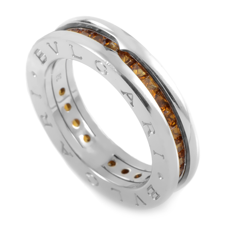 B.ZERO1 Women's 18K White Gold Orange Citrine Band Ring AN852561