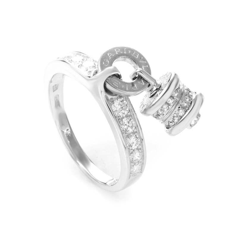 B.ZERO1 18K White Gold Diamond Charm Ring AN853924