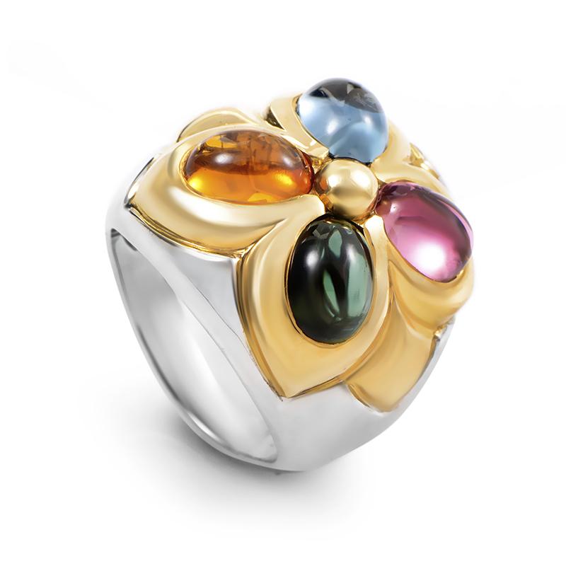 Bvlgari 18K Multi-Gold Gemstone Ring