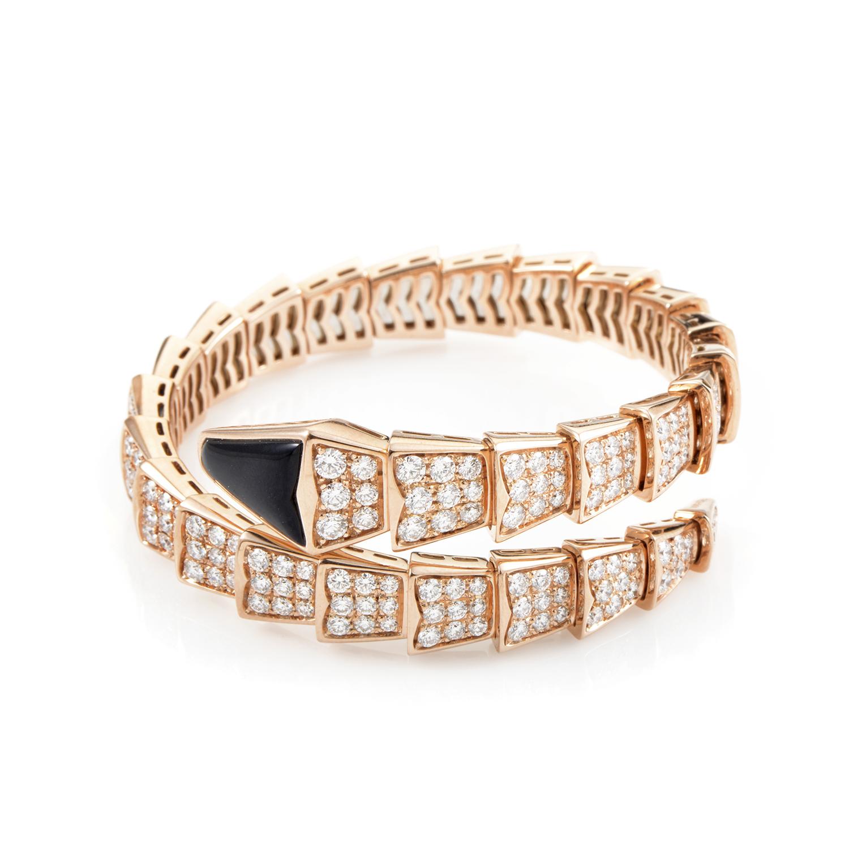 Bvlgari Women's Serpenti 18K Rose Gold Diamond & Onyx Spiral Bangle Bracelet BVL01-070716