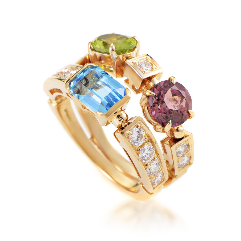 Bvlgari Allegra 18K Yellow Gold Diamond & Gemstone Band Ring
