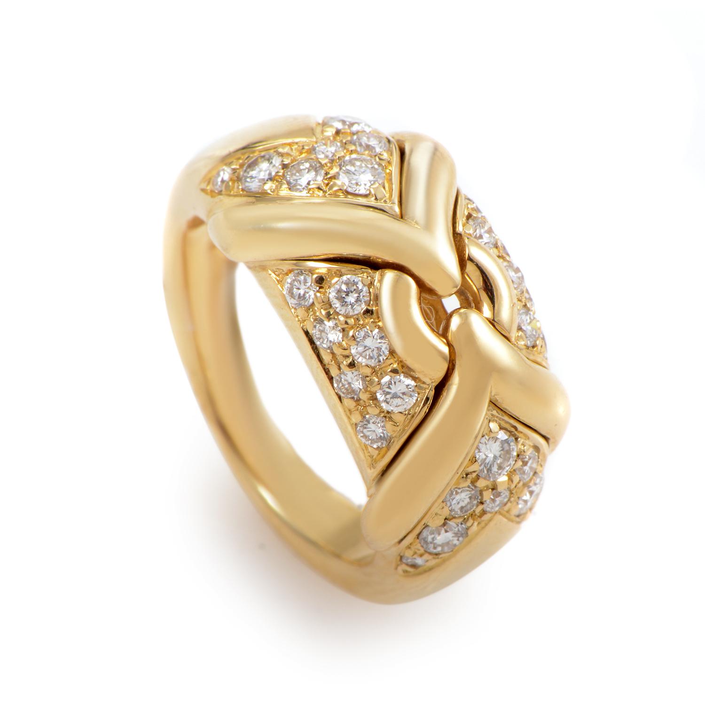 Bvlgari Trika 18K Yellow Gold Diamond Ring