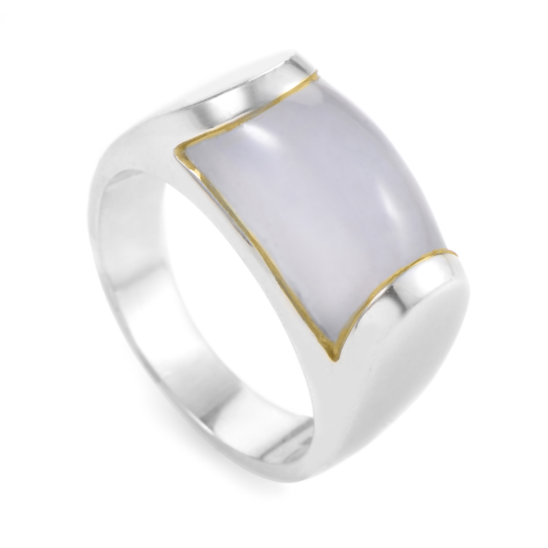 Bvlgari Tronchetto 18K White Gold Chalcedony Ring