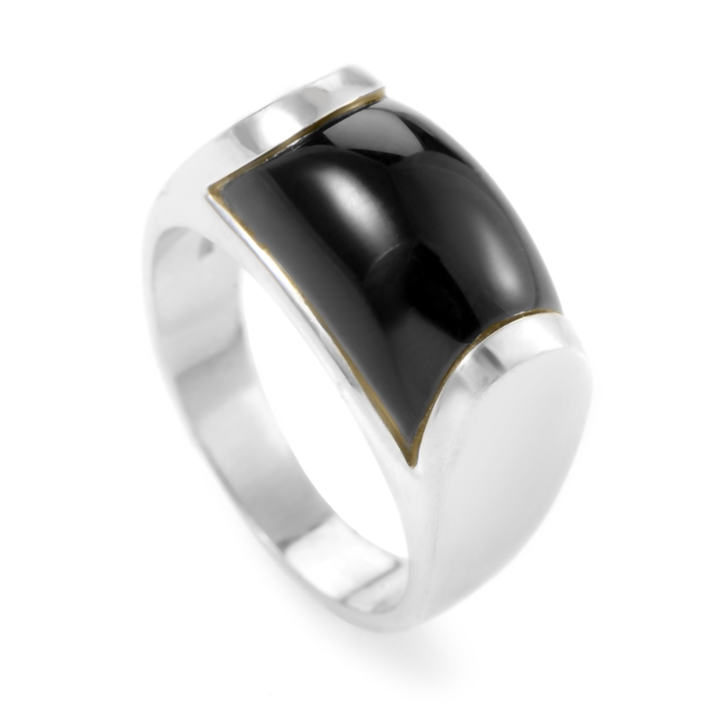 Bvlgari Tronchetto Women's 18K White Gold Onyx Ring