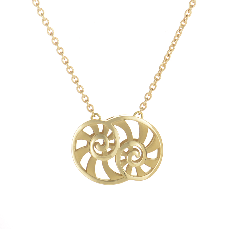 Astea 18K Yellow Gold Double Shell Pendant Necklace DA12355-01
