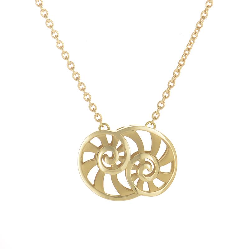 18K Yellow Gold Double Shell Pendant Necklace DA12355-01