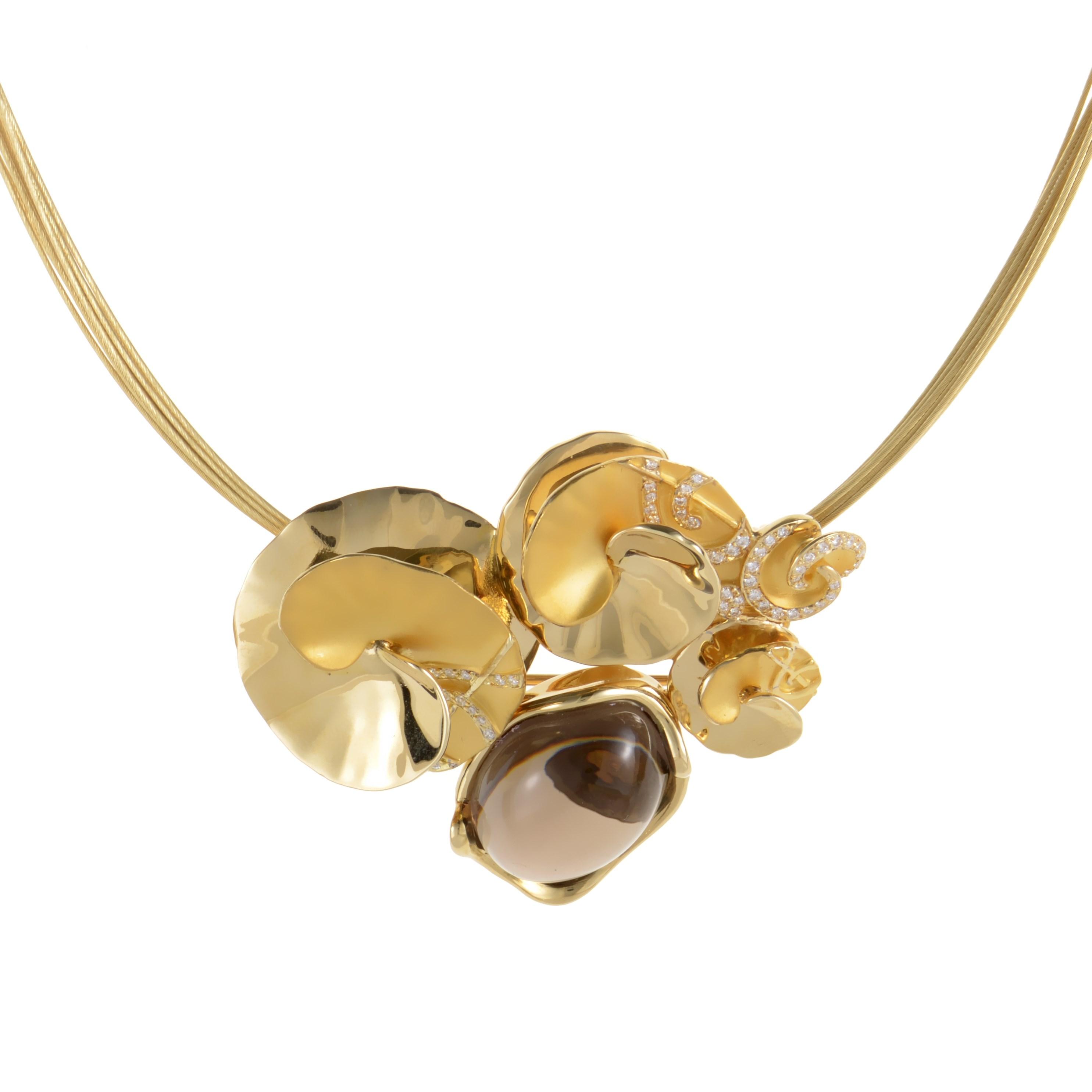 Danza 18K Yellow Gold Smoky Quartz & Diamond Bouquet Necklace