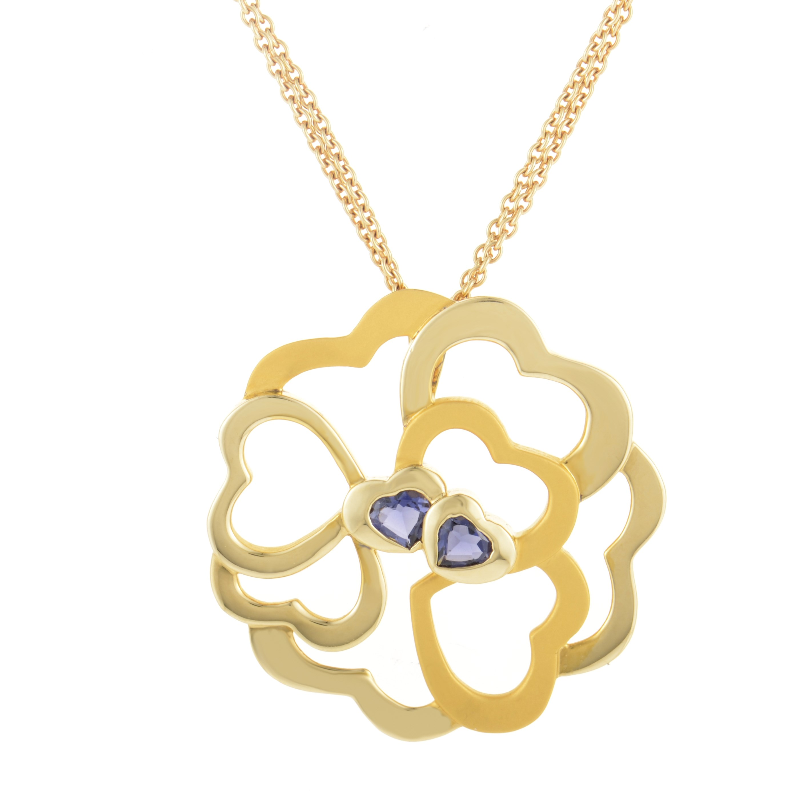 Large 18K Yellow Gold & Iolite Heart Cluster Pendant Necklace DA12955-014018