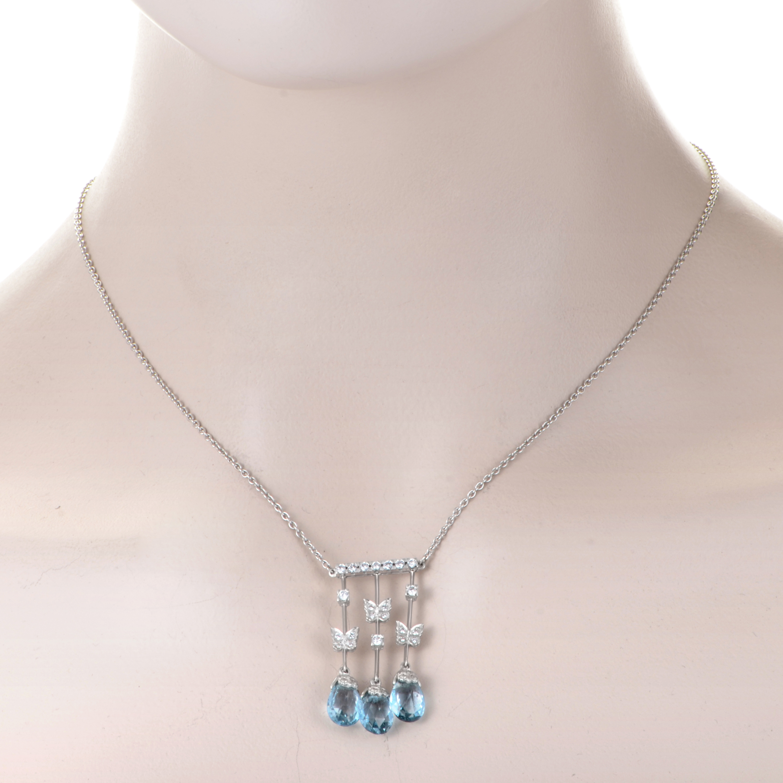 Carrera y Carrera Baile De Mariposas 18K White Gold Diamond & Topaz Briolette Pendant Necklace
