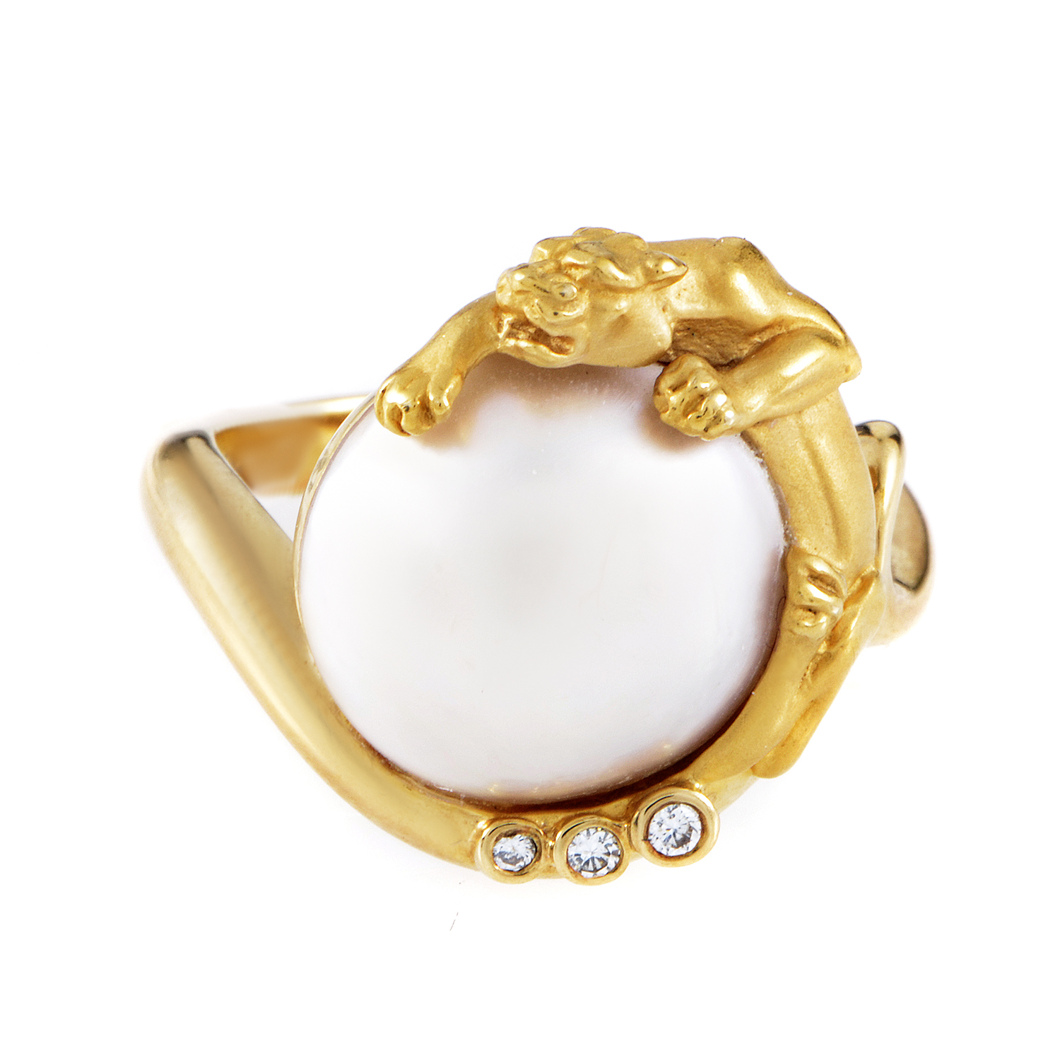 Carrera y Carrera 18K Yellow Gold Diamond & Pearl Panther Ring