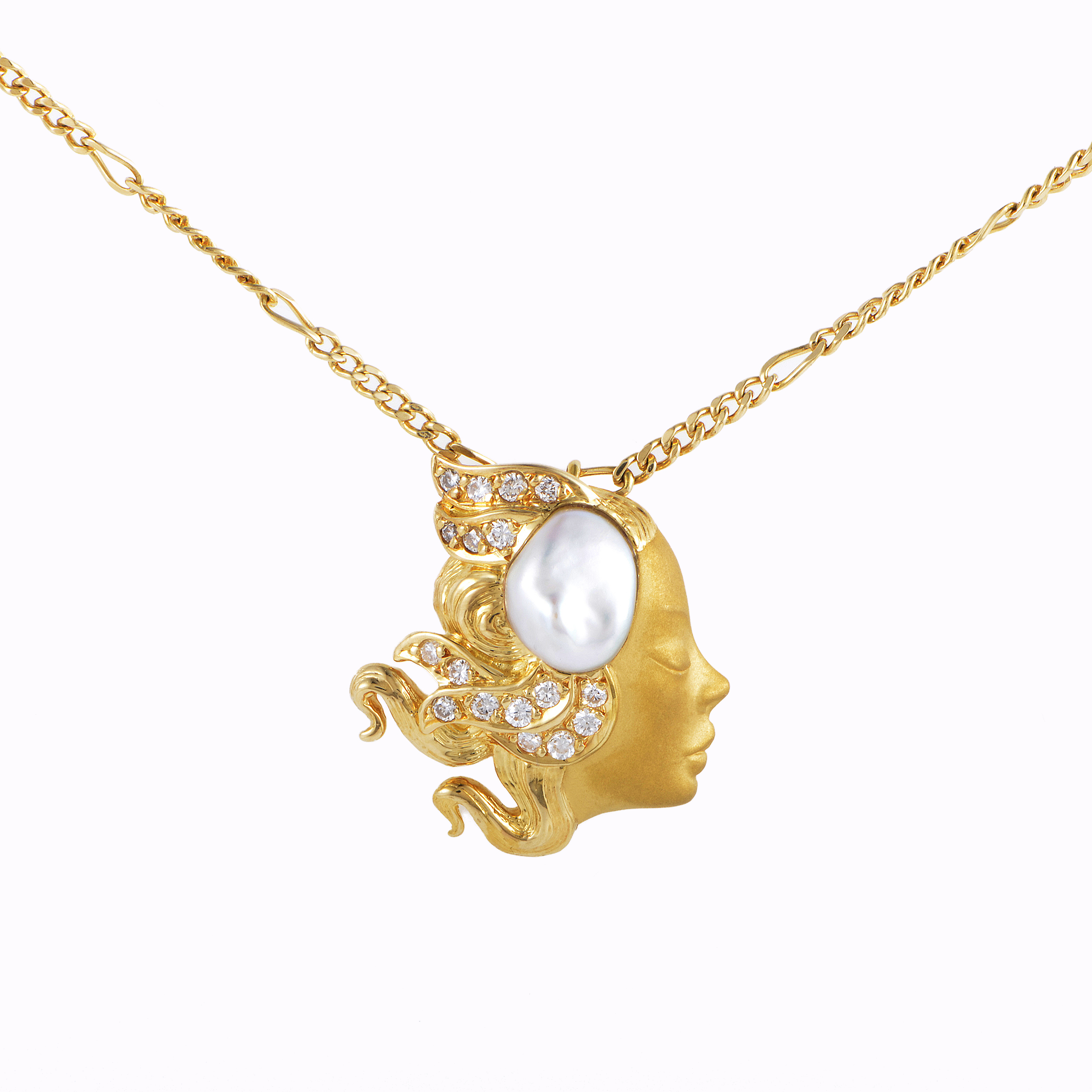 Carrera y Carrera Yellow Gold Mother of Pearl & Diamond Damsel Pendant Necklace