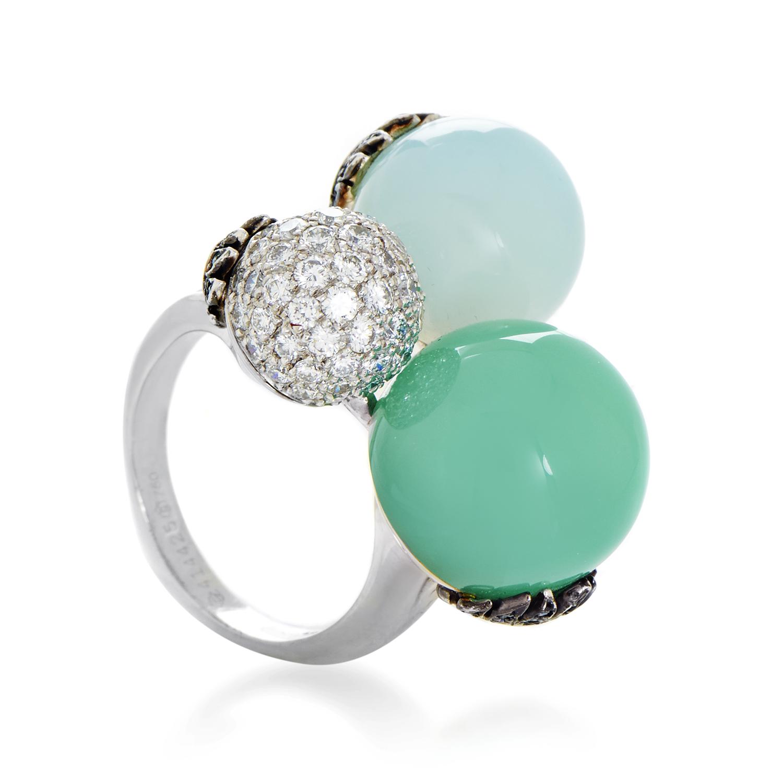 Women's 18K White Gold Diamond & Green Gemstone Cocktail Ring