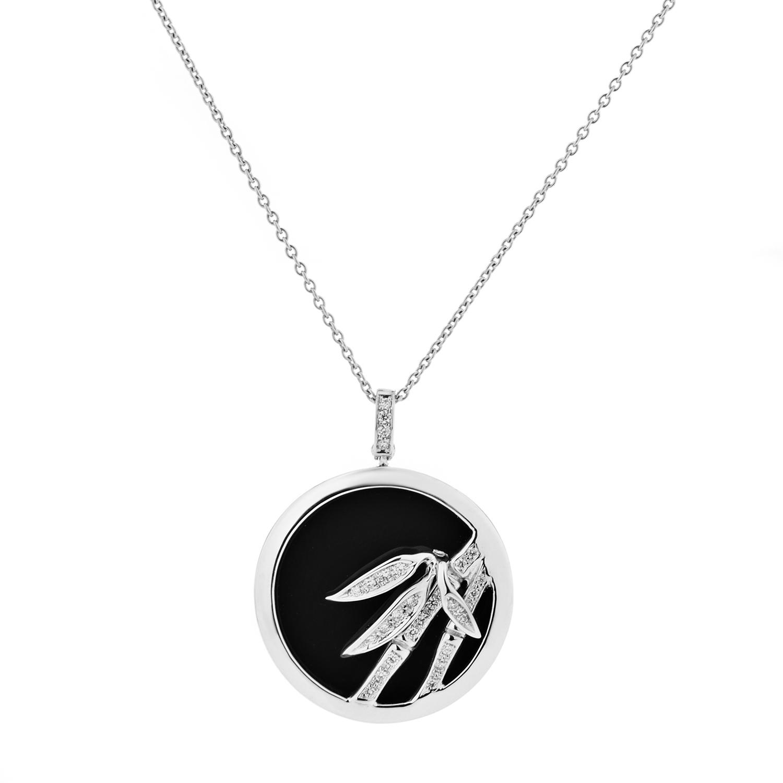Bambu Women's 18K White Gold Diamond & Onyx Pendant Necklace
