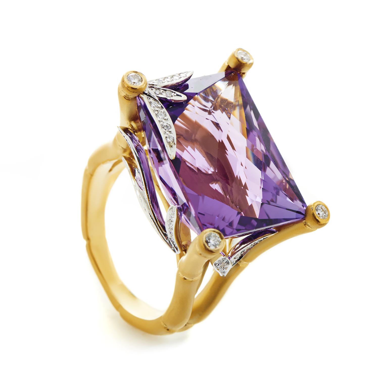 Bambu Women's 18K Multi-Tone Gold Diamond & Amethyst Ring