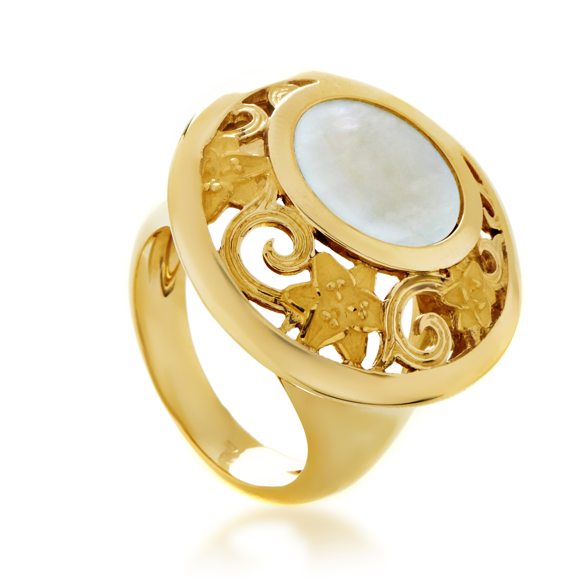 Jazmin Women's Large 18K Yellow Gold Mother of Pearl Ring